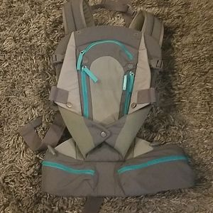 Gray and blue zipper baby carrier